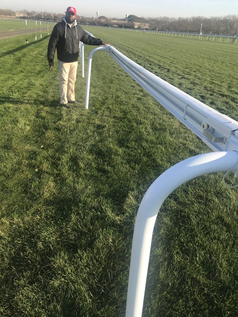 Truly movable race rails on NYRA Aqueduct Turf courses